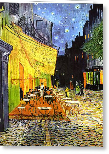 The Cafe Terrace On The Place Du Forum Greeting Card
