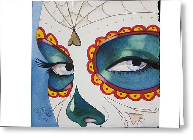The Calavera Mask Greeting Card by Teresa Beyer