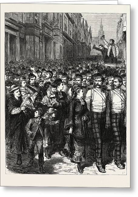 The Calling Out Of The Reserves, A Scene In Scotland Greeting Card by Scottish School
