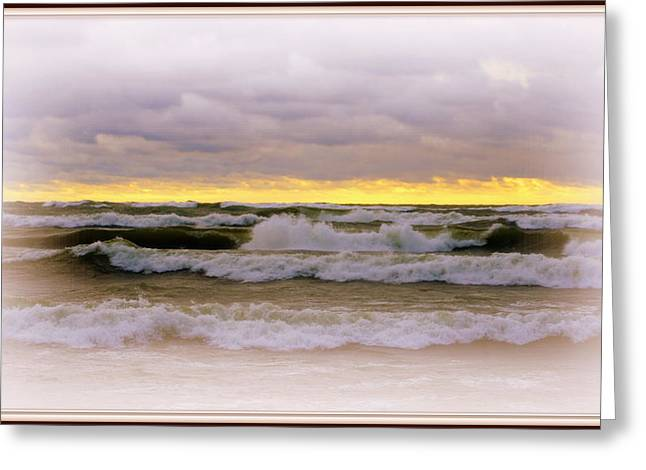 The Calm Is Comming   After The Storm On Lake Michigan Greeting Card by Rosemarie E Seppala