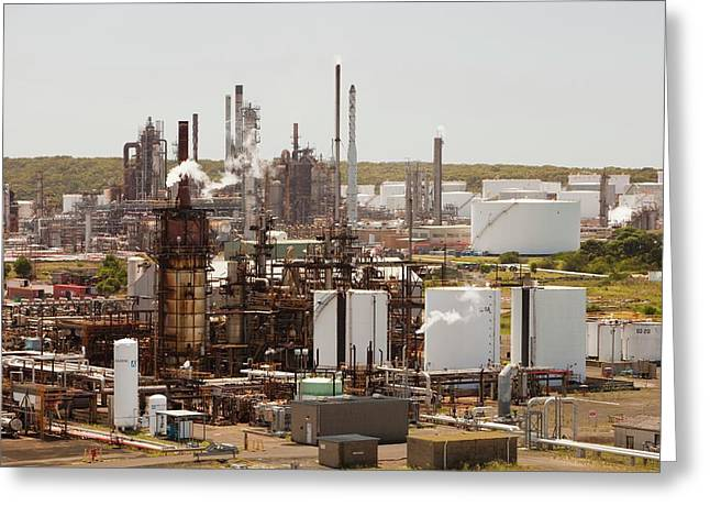 The Caltex Oil Refinery Greeting Card by Ashley Cooper