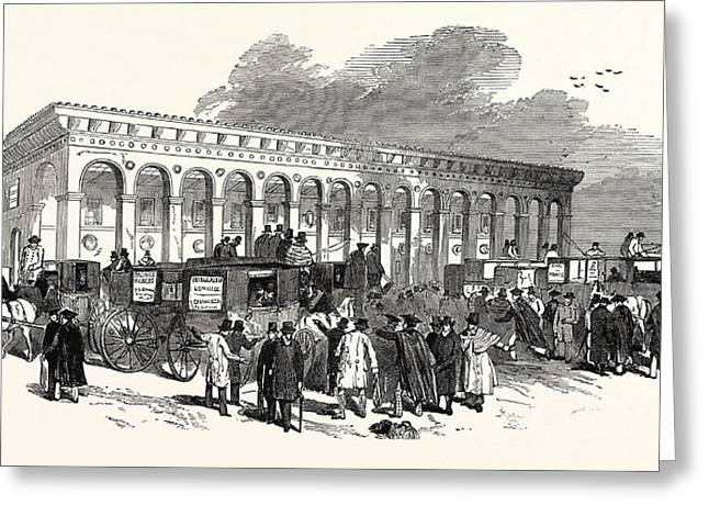 The Cambridge Chancellorship Election The Railway Station Greeting Card by English School