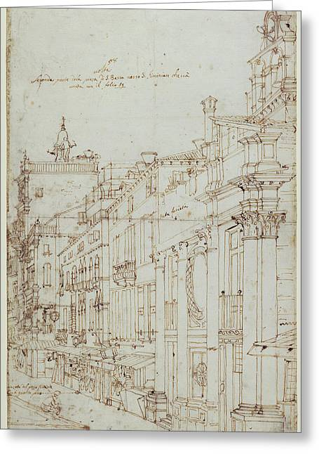 The Campo S. Basso The North Side With The Church Recto Greeting Card by Litz Collection