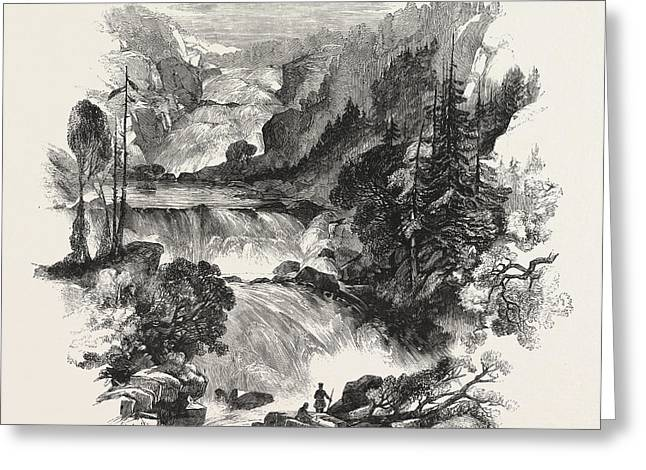 The Canadian Red River Exploring Expedition Great Falls Greeting Card by English School