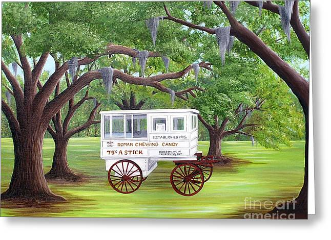 The Candy Cart Greeting Card by Valerie Carpenter