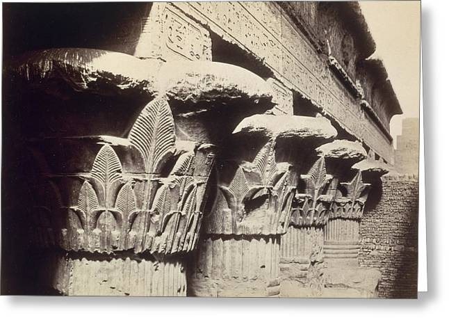 The Capitals Of The Portico Of The Temple Of Khnum In Esna Greeting Card by Francis Bedford