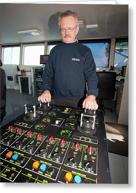 The Captain Of The Jack Up Barge Greeting Card by Ashley Cooper