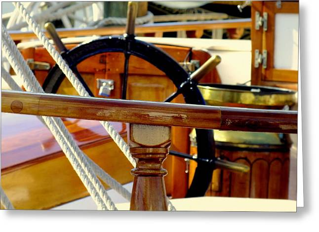 The Captain's Wheel Greeting Card by Karen Wiles