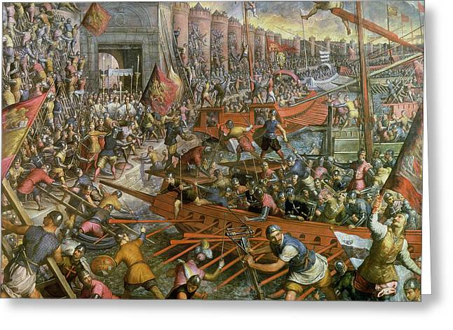 The Capture Of Constantinople In 1204 Greeting Card by Jacopo Robusti Tintoretto
