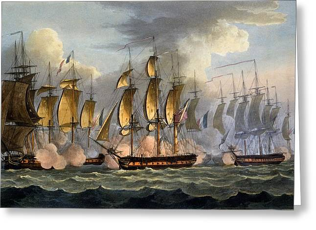The Capture Of La Raison Greeting Card by Thomas Whitcombe