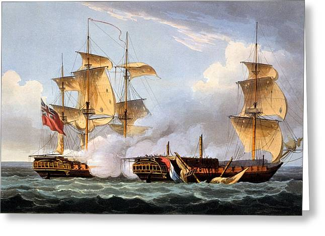 The Capture Of La Vestale Greeting Card by Thomas Whitcombe