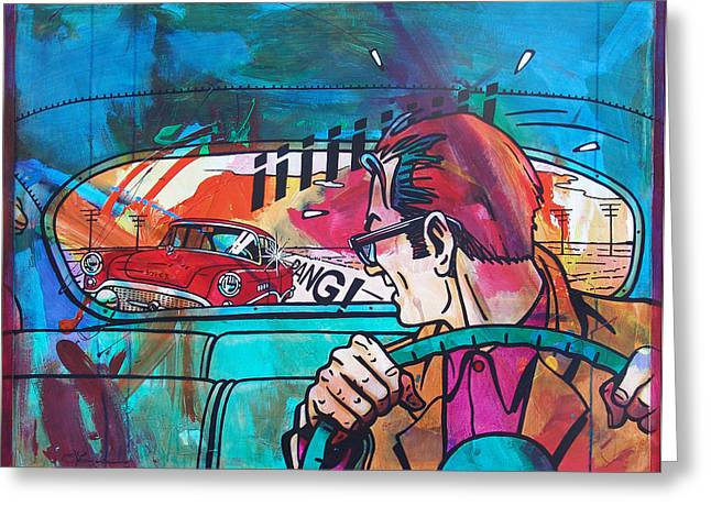 The Car Chase Greeting Card by Frans Mandigers