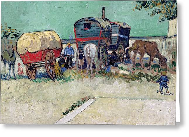 The Caravans   Gypsy Encampment Near Arles Greeting Card by Vincent Van Gogh