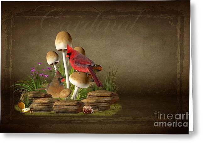 The Cardinal Greeting Card by Davandra Cribbie