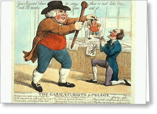 The Caricaturists Apology, Grinagain, Giles Greeting Card by Litz Collection
