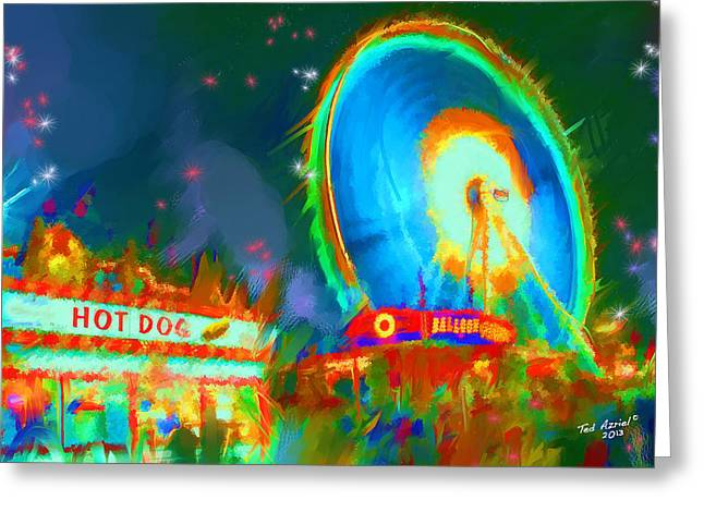 Greeting Card featuring the painting The Carnival by Ted Azriel