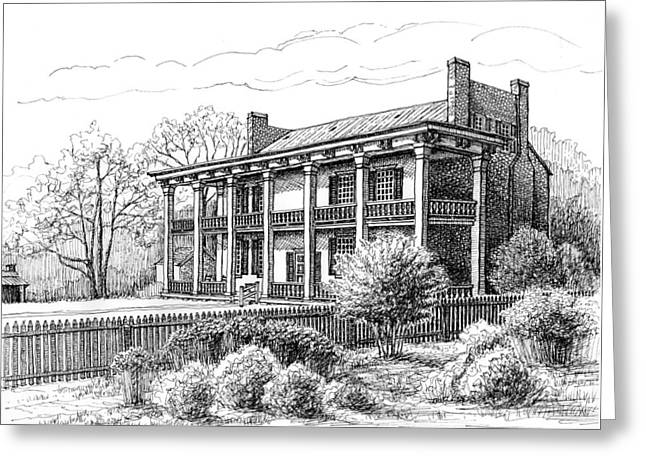 Greeting Card featuring the drawing The Carnton Plantation In Franklin Tennessee by Janet King