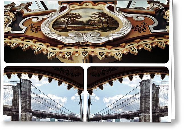 The Carousel And The Bridge Greeting Card