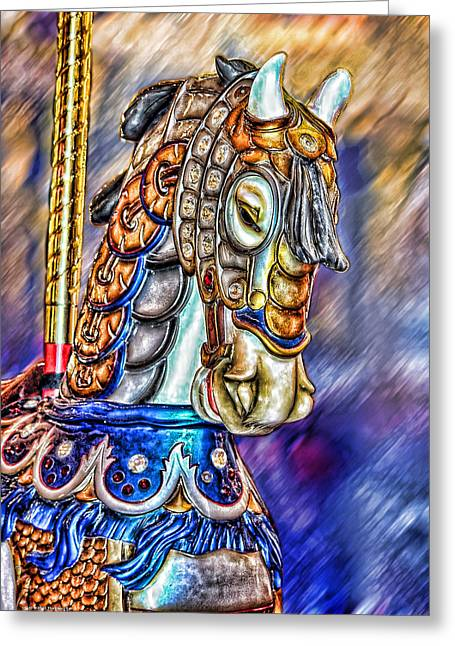 Greeting Card featuring the painting The Carousel Horse by Mary Almond
