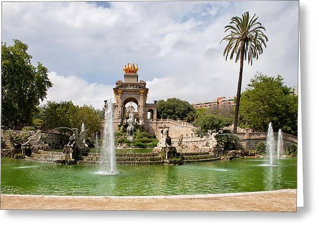 The Cascada In Ciutadella Park In Barcelona Greeting Card