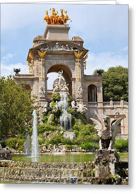 The Cascada In Parc De La Ciutadella In Barcelona Greeting Card by Artur Bogacki