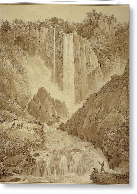 The Cascades At Terni Louis-francois Cassas Greeting Card by Litz Collection
