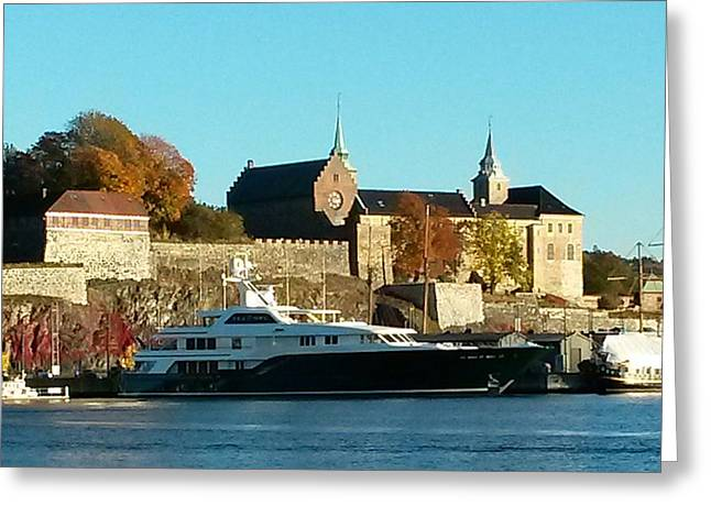 The Castle By The Waterfront Greeting Card