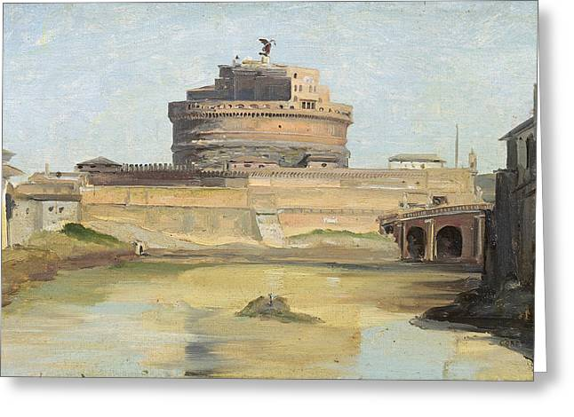 The Castle Of St. Angelo, Rome Oil On Canvas Greeting Card