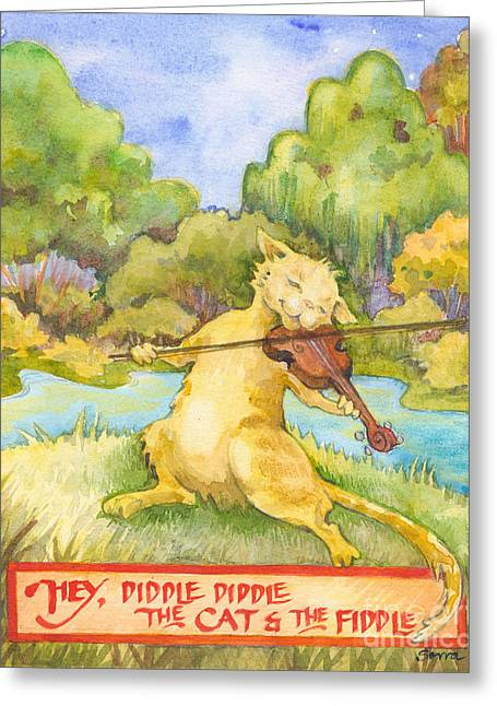 Greeting Card featuring the painting The Cat And The Fiddle by Lora Serra