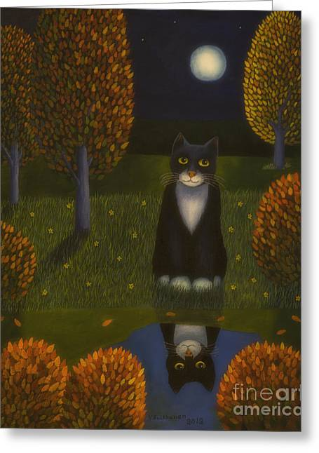 The Cat And The Moon Greeting Card by Veikko Suikkanen