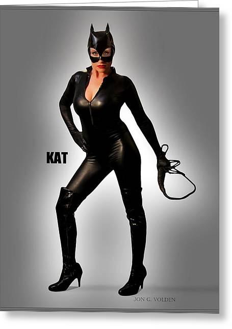 Kat Vgirl Pinup Greeting Card