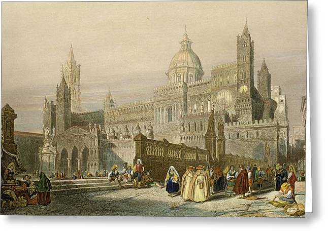The Cathedral At Palermo, Sicily Greeting Card by William Leighton Leitch