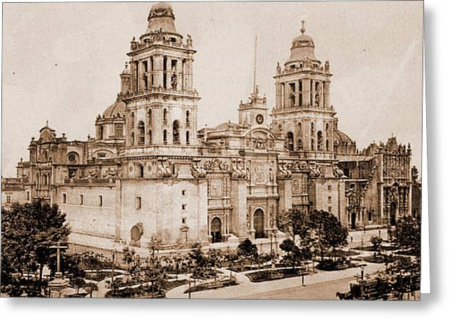 The Cathedral, City Of Mexico, Jackson, William Henry Greeting Card