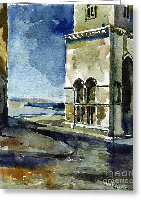 The Cathedral Of Trani In Italy Greeting Card by Anna Lobovikov-Katz