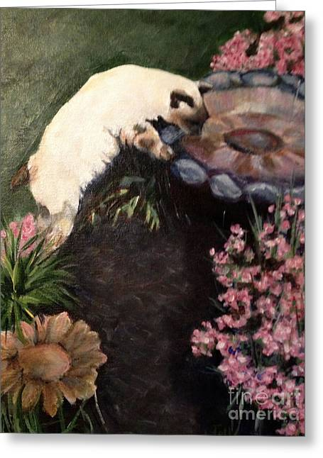 The Cats In The Garden Greeting Card by Janet Felts