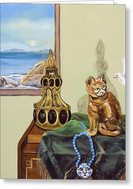 Greeting Card featuring the painting The Cat's Meow by Susan Culver