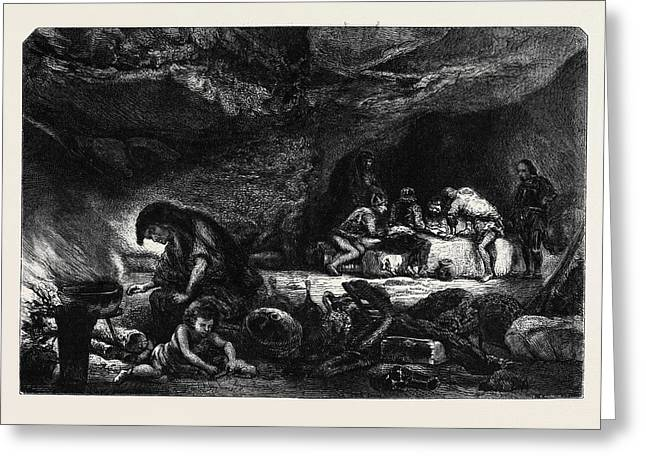 The Cavern, By Celestin Nanteuil La Caverne Greeting Card by Nanteuil, Celestin Francois (1813-73), French