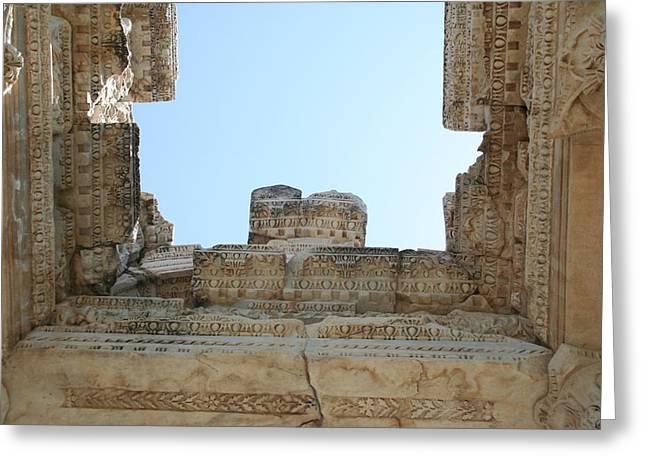 The Ceiling Of The Tetrapylon Aphrodisias Greeting Card by Tracey Harrington-Simpson