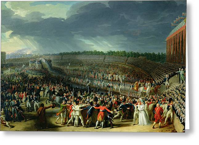 The Celebration Of The Federation, Champs De Mars, Paris, 14 July 1790 Oil On Canvas Greeting Card by Charles Thevenin