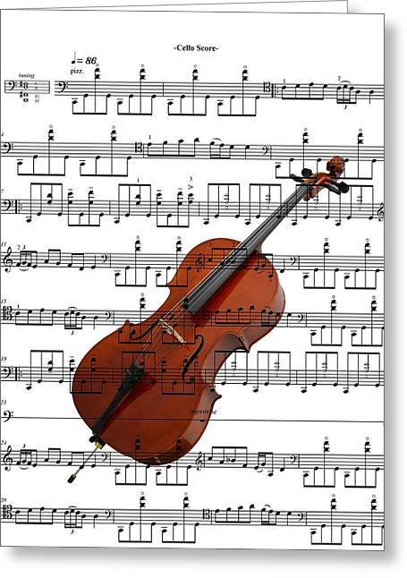 The Cello Greeting Card by Ron Davidson