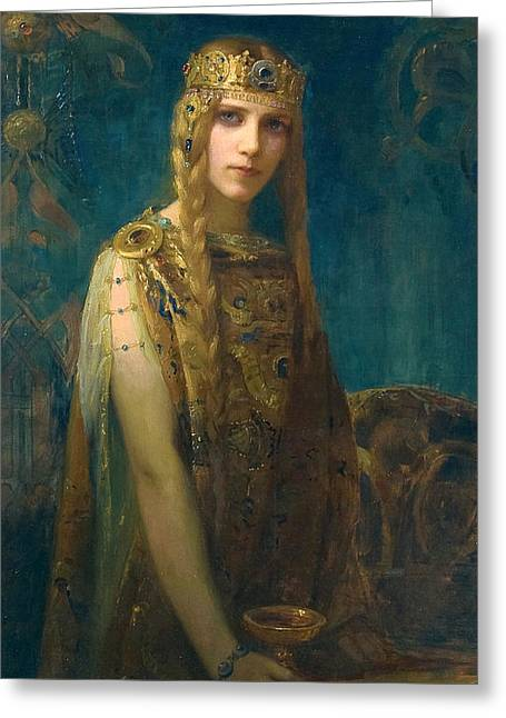 The Celtic Princess Greeting Card by Gaston Bussiere