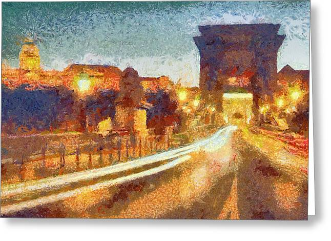 The Chain Bridge Greeting Card by Odon Czintos