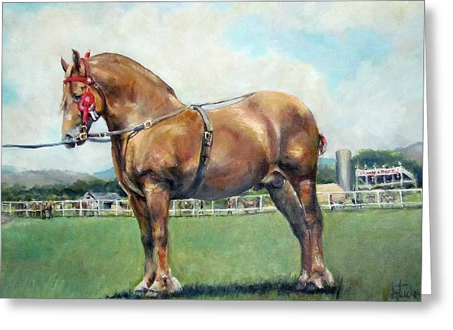 Greeting Card featuring the painting The Champ by Donna Tucker