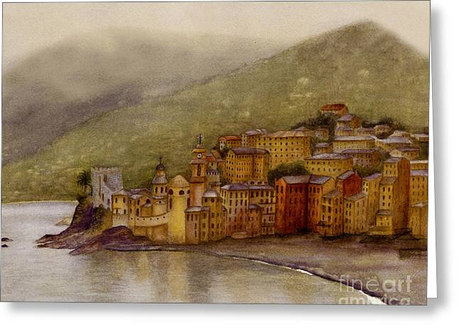 The Charming Town Of Camogli Italy Greeting Card by Nan Wright