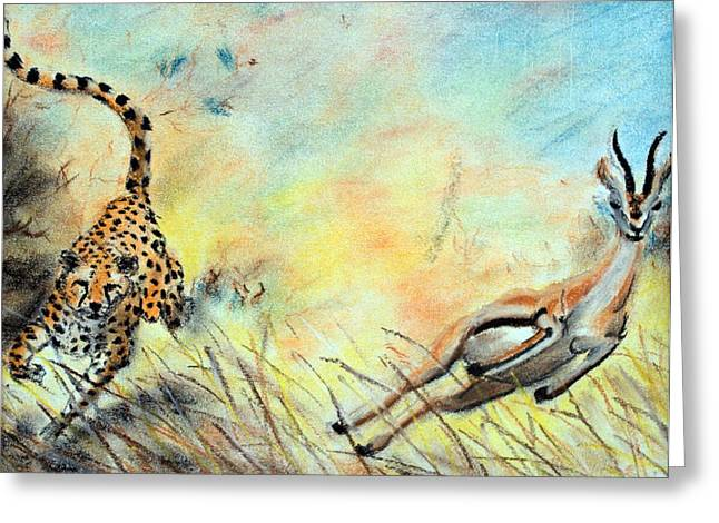 The Chase Is On Greeting Card by Nathan Cole