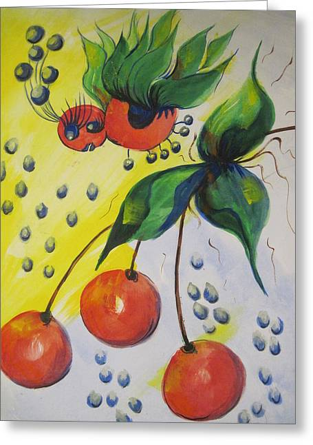 The Cherry Fairy Greeting Card by Shirley Watts