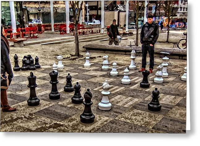 The Chess Match In Portland Greeting Card