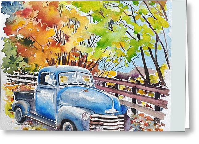 The Old Chevy In Autumn Greeting Card