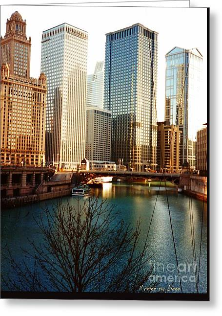 The Chicago River From The Michigan Avenue Bridge Greeting Card by Mariana Costa Weldon