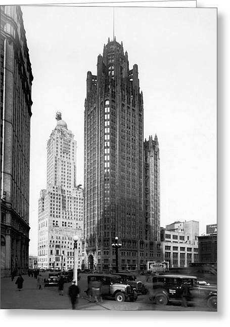 The Chicago Tribune Building Greeting Card by Underwood Archives